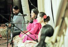 Singers Ananyaa and Ananta Gaur performing at ongoing Rangleela Natya Utsav on Monday.