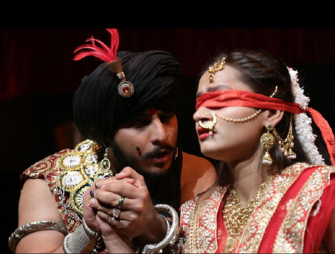 A scene from the play 'Komal Gandhar' staged at Jammu on Sunday.