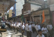 RSS Swayamsevaks taking out route-march at Reasi on Sunday.
