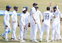 Indian players celebrating victory in First Test against South Africa at Visakhapatnam on Sunday.