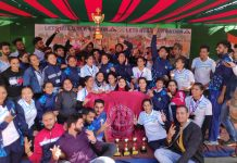 Winners of Sangam 2019-20 posing along with the chief guest and other dignitaries at Bhaderwah. — Excelsior/Tilak Raj