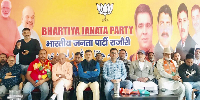 Vibodh Gupta and other BJP leaders in a party function at Rajouri on Friday.