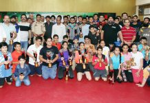 Winners posing along with IGP Jammu, Mukesh Singh and other dignitaries during closing ceremony of 42nd Stag J&K TT Championship in Jammu. -Excelsior/Rakesh