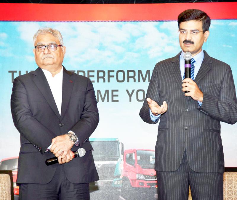 Rajan Wadhera, President, Automotive Sector, Mahindra and Mahindra Limited and Vinod Sahay, CEO, Mahindra Truck and Bus Division, Mahindra and Mahindra Limited briefing about BLAZO range of trucks.