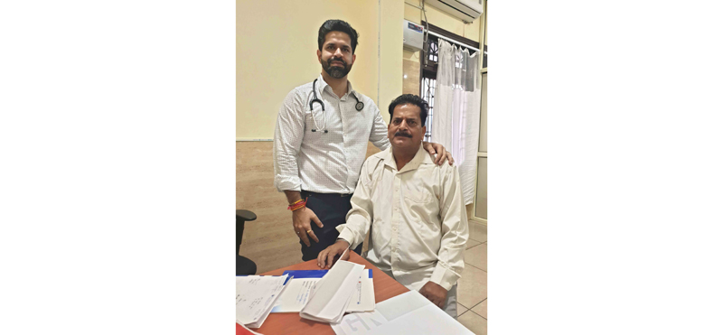 Dr. Nikhil Mahajan, Senior Cardiologist along with the cardiac patient whose successfully surgery was performed at SMVDNSH.