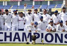 Indian captain Virat Kohli and team players posing with the trophy after winning the Test series against South Africa at JSCA Stadium, in Ranchi.