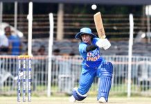 Indian skipper Mithali Raj executing a shot during her knock of 66 runs against South Africa at Vadodara on Friday.
