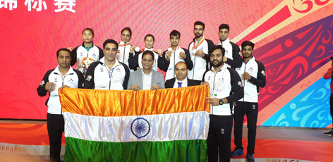 Indian Wushu team after excelling in World Championship at Shanghai.