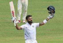 Virat Kohli celebrating during his record knock of unbeaten 254 runs against South Africa at Pune on Friday.