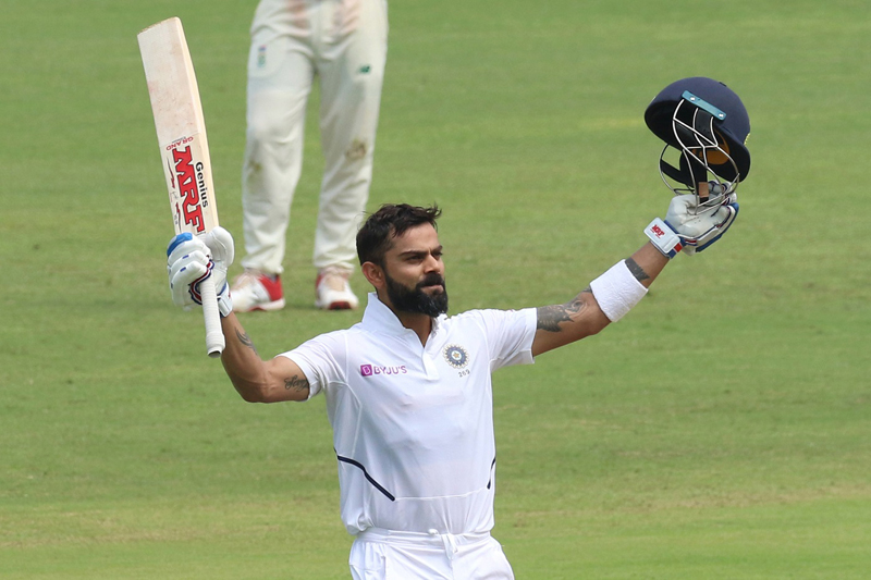 Virat Kohli celebrating during his record knock of unbeaten 254 runs against South Africa at Pune on Friday.