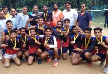Volleyball team of GDC Kathua after clinching Inter-Collegiate Tournament.