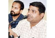 Ajay Kumar Rajak, Project Director NHAI during a press conference at Jammu on Tuesday. -Excelsior/Rakesh