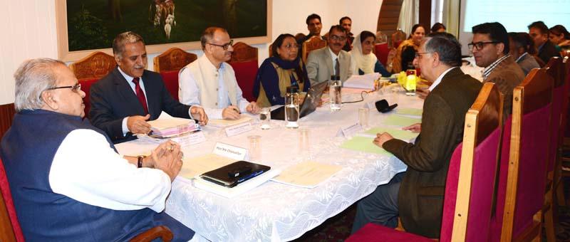 Governor Satya Pal Malik chairing University Council meeting at Srinagar on Wednesday.