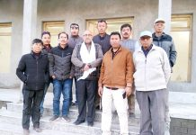 BJP national vice president, Avinash Rai Khanna with BJP leaders in Leh on Tuesday.