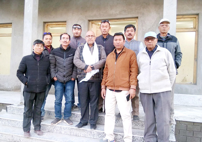 BJP national vice president, Avinash Rai Khanna with BJP leaders in Leh on Tuesday.