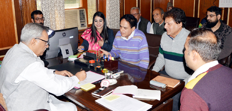 Advisor Farooq Khan interacting with a delegation on Thursday.