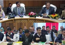 Advisor Vijay Kumar and Chief Secretary BVR Subrahmanyam chairing a meeting at Kulgam on Wednesday.