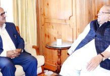 Speaker Dr Nirmal Singh meeting with Governor Satya Pal Malik at Raj Bhavan, Srinagar.