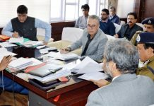 FC Finance Dr Arun Mehta chairing a meeting on Monday.