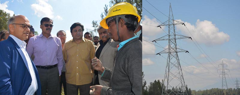 Advisors Vijay Kumar and K K Sharma inspecting Zainakoot-Alesteng transmission project on Tuesday.