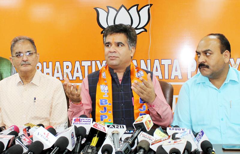 State BJP president Ravinder Raina addressing a press conference on Thursday.Excelsior/Rakesh