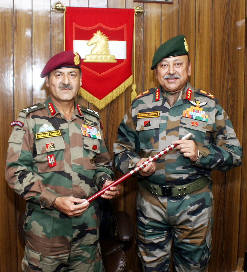 Lt Gen Harsha Gupta assuming charge of White Knight Corps from Lt Gen P S Sangha in Jammu on Saturday.