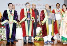 Governor Satya Pal Malik awarding degree to a student on Tuesday.