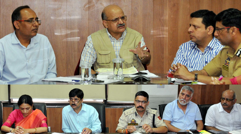 Chief Secretary BVR Subrahmanyam chairing a meeting on Thursday.