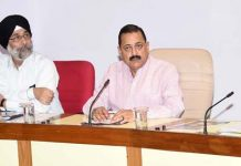 Union Minister Dr Jitendra Singh convening a meeting of senior officials of the Ministry of Development of North Eastern Region (DoNER), at Vigyan Bhawan, New Delhi on Thursday.