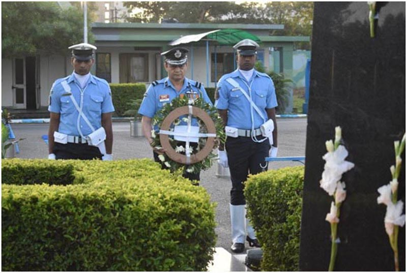 Air Commodore, Ajay Singh Pathania, paying floral tributes to Martyrs at War Memorial, Air Force Station, Jammu on Tuesday.
