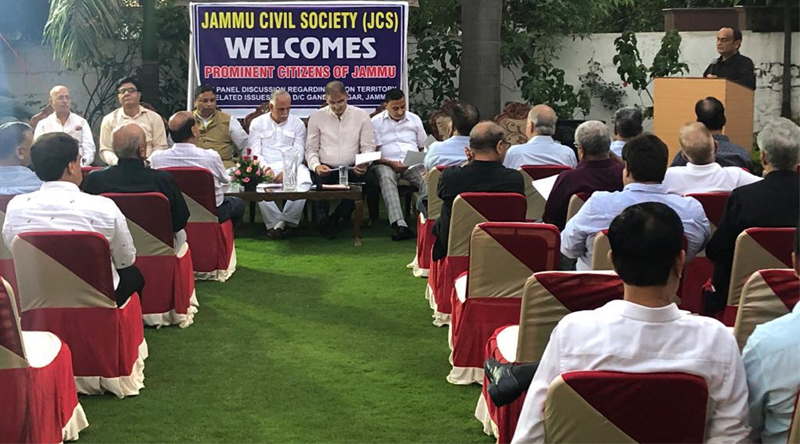 MP Shamsher Singh Manhas chairing a panel discussion with former MLAs and Jammu Civil Society at Gandhi Nagar, Jammu on Monday.