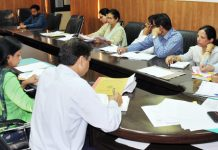 Divisional Commissioner Jammu, Sanjeev Verma chairing a meeting on Monday.