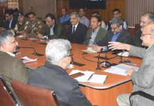 Chief Secretary BVR Subrahmanyam chairing a meeting at Srinagar on Friday.