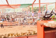 Union Minister Dr Jitendra Singh addressing an election rally at Tohana in Haryana on Monday.