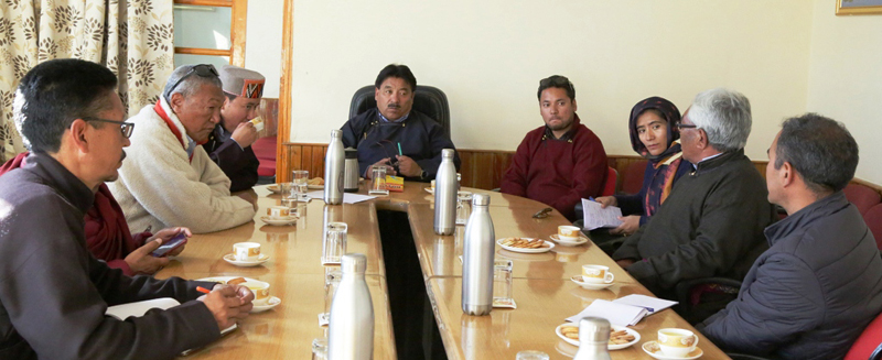 CEC Gyal P Wangyal and others during meeting on Monday.