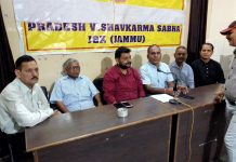 Pradesh Vishwakarma Sabha office bearers addressing a press conference at Jammu on Thursday.