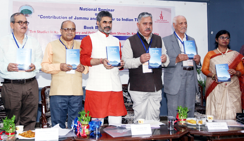 Scholars releasing Dr K N Pandita's book at Jammu University on Tuesday. —Excelsior/Rakesh