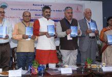 Scholars releasing Dr K N Pandita's book at Jammu University on Tuesday. —Excelsior/Rakesh