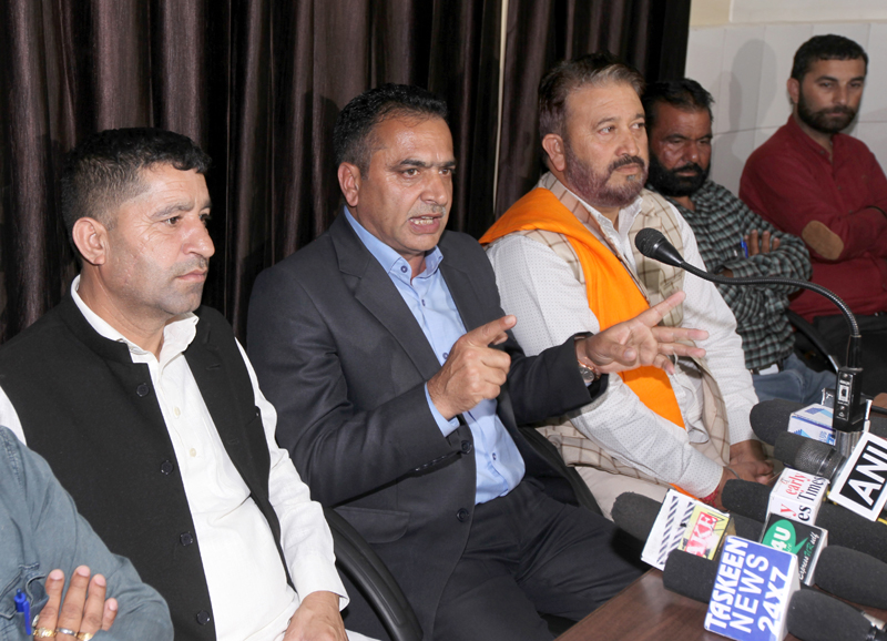 Chairman of Panchayat Conference addressing media persons at Jammu on Wednesday. -Excelsior/Rakesh