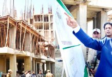 Advisor K K Sharma inspecting SDA project on Sunday.