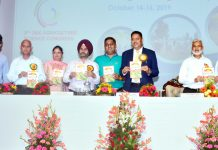 Vice-Chancellors of SKUAST Jammu and Kashmir along with others releasing souvenir of Agricultural Science Congress during valedictory function on Wednesday.