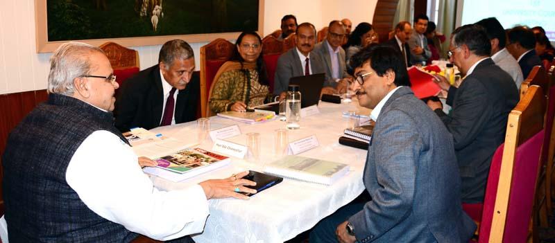 Governor Satya Pal Malik chairing Jammu Cluster University Council meeting on Tuesday.