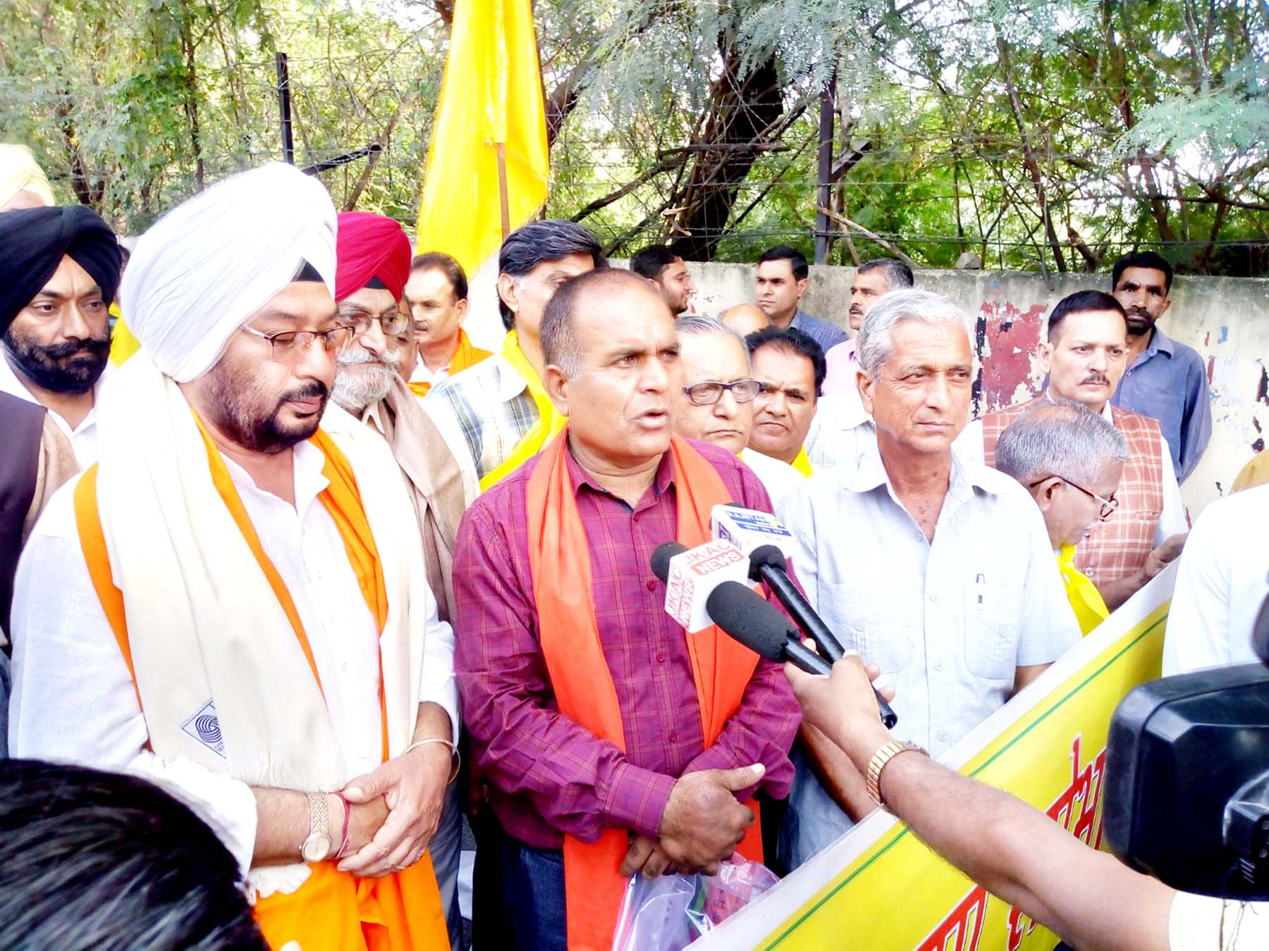 Vishwakarma Sabha members talking to media persons on Sunday.
