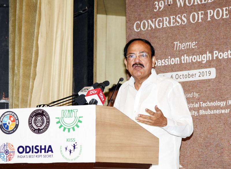 Vice President, M. Venkaiah Naidu addressing the gathering at the valedictory ceremony of the 39th World Congress of Poets, in Bhubaneswar, Odisha on Sunday.