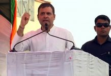 Congress leader Rahul Gandhi addressing a poll rally in Haryana's Nuh on Monday.