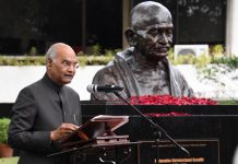 President Ram Nath Kovind, addressing on the occsion of unveiling the bust of Mahatma Gandhi at Miriam College, Quezon City, Manila, Philippines on Sundsay. (UNI)