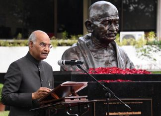President Ram Nath Kovind, addressing on the occsion of unveiling the bust of Mahatma Gandhi at Miriam College, Quezon City, Manila, Philippines on Sundsay. (UNI)