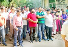 PDD employees staging protest in Jammu on Wednesday.