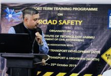 Special Secretary, Amit Sharma addressing a workshop on Road Safety at IIT Jammu.