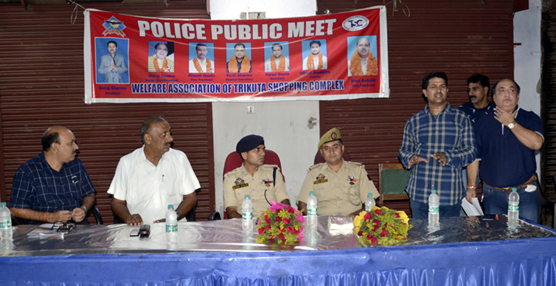 Police officers at a police-public meeting in Jammu on Thursday.